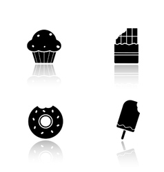 Sweets drop shadow icons set vector