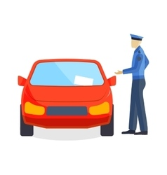 Policeman writing speeding ticket driver parking vector