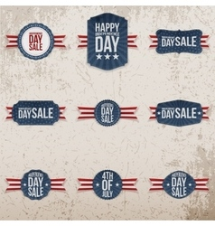 Independence day sale patriotic emblems set vector