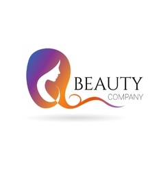 Beauty company logo with female face vector image vector image