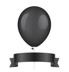 black balloon and ribbon vector image vector image