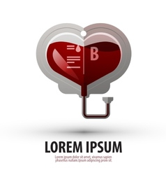 Blood heart hospital logo icon sign emblem vector