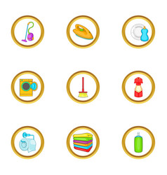 Cleanup things icons set cartoon style vector