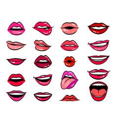 comic female lips set vector image