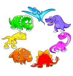 Dinosaurs rainbow vector image vector image