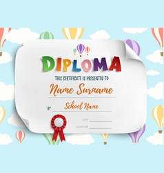 Diploma template for kids vector