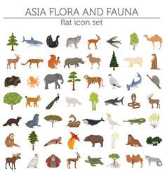 flat asian flora and fauna map constructor vector image vector image