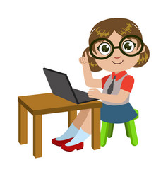Girl in glasses sitting at the desk with lap top vector