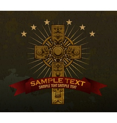 gothic cross with ribbon vector image vector image