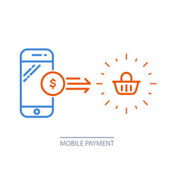mobile payment - smartphone and shopping cart vector image vector image