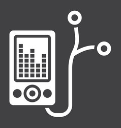 Mp player device glyph icon fitness and audio vector