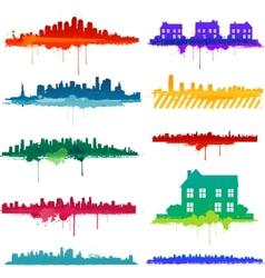 paint splat city design vector image vector image