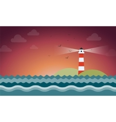 Rays coming out from lighthouse in night vector image