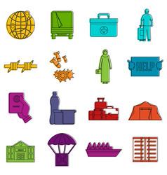 refugees problem icons doodle set vector image