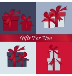 Set gifts Happy Christmas Box with a festive vector image vector image