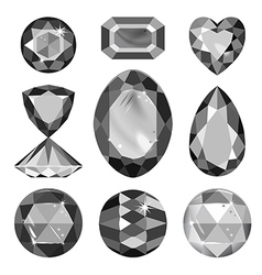 Set of greyscale black gems vector image vector image