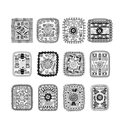 Set of rectangular ethnic ornaments in black and vector image vector image