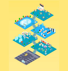 Shopping mall isometric infographics vector