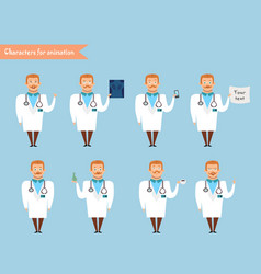 smart doctor presenting in various action vector image