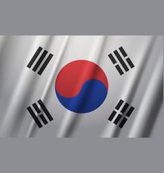 south korea flag waving on wind background vector image