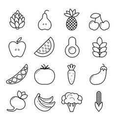 vegan icon set outline vegetables and fruits vector image vector image