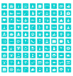 100 holidays icons set grunge blue vector image