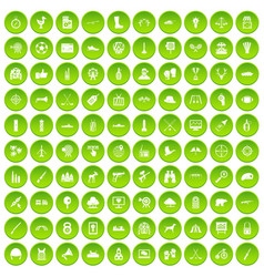 100 target icons set green circle vector