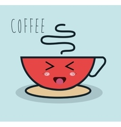 Cartoon cup coffee red facial expression isolated vector
