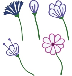 Flowers drawn in kid style outline for coloring vector
