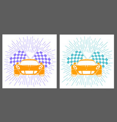 icons racing of sports cars vector image