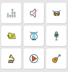 music colored outlines set collection of mute vector image