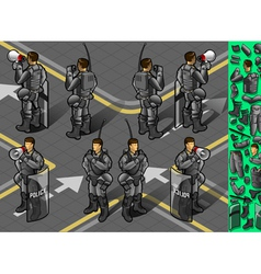 isometric set of eight policemans standing vector image