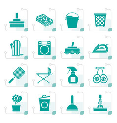 Stylized household objects and tools icons vector