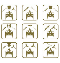 Set of braziercooking icons vector