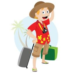 Man on vacation vector