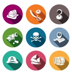 Pirates flat icon set vector