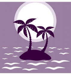 Tropical palm island vector