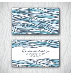 Abstract doodle business card template vector