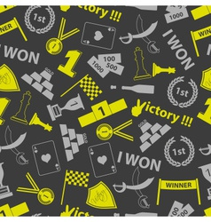 Flawless victory symbols seamless color pattern vector