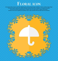 Umbrella floral flat design on a blue abstract vector