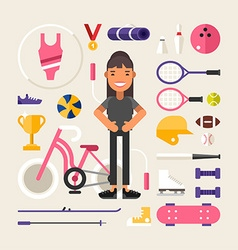 Set of icons and in flat design style female vector