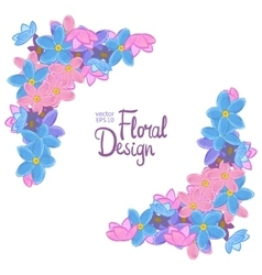 Corner with forget-me-not flowers vector