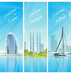 Modern cityscapes 3 banners set vector