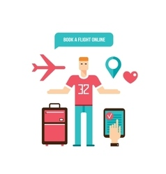 Young man ready for vacation flight booking design vector
