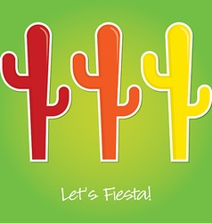 Lets fiesta paper cut out card in format vector