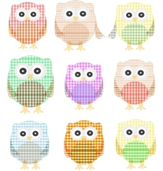 Owls icon set isolated on white vector