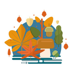 Autumn foliage composition in flat style vector