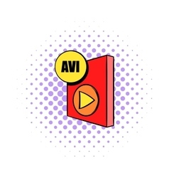 Avi file icon in comics style vector