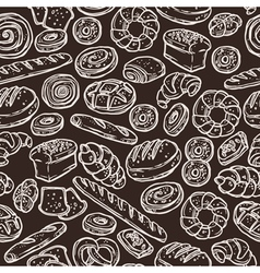 Bakery sketch pattern on chalkboard vector