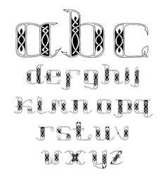beautiful Celtic font with patterns vector image